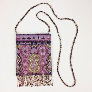 J&X Vintage Satin Fringe Beaded Evening Bag